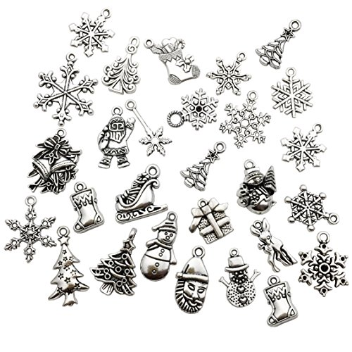 Christmas charms-100g (about 75pcs) Craft Supplies Mixed Pendants Beads Charms Pendants for Crafting, Jewelry Findings Making Accessory For DIY Necklace Bracelet M41 (Christmas charms)