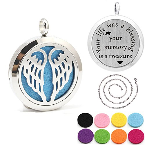 Steel Angel Wing Aroma Aromatherapy Essential Oil Diffuser Necklace (Factory Wing)