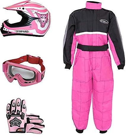 Leopard LEO-X17 Rosado Casco de Motocross para Niños (XL 55cm) + Gafas + Guantes (XL 8cm) + Traje de Motocross para Niños - L (9-10 Años)