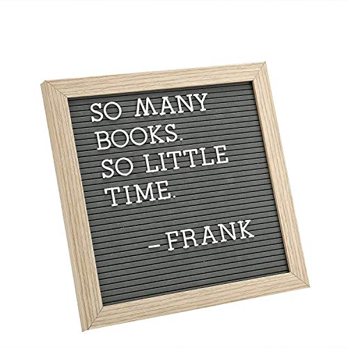 Letter Board by Crystal Lemon, Felt Letter Board, 10x10 Inches, Changeable Wooden Message Board Sign, Wood Frame, Wall Mount, Free Standing(Gray)