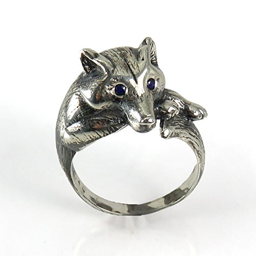 Sapphire Dog Ring - Watchful Wolf Ring - Sterling Silver Sculpted Resting Wolf or Dog Totem Ring set with Sapphires or another stone of your choice
