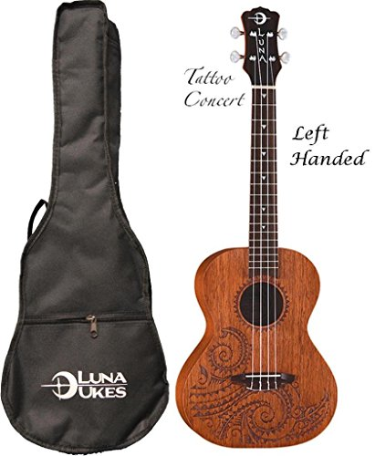 Luna Mahogany Series Tattoo Concert Ukulele LEFTY, UKE TC MAH L by Luna Guitars