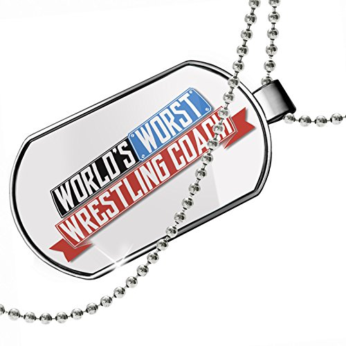 Dogtag Funny Worlds worst Wrestling Coach Dog tags necklace - Neonblond by NEONBLOND