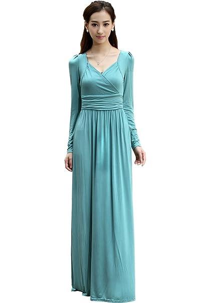 Medeshe las mujeres del algodón de manga larga formal vestido de noche fiesta Maxi vestidos de