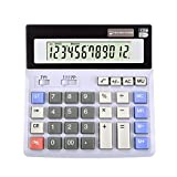 LOHOME Large 12-digit Electronic Calculator - Battery & Solar Powerd Standard Function Desktop Business Calculator with LCD Display Screen for Home & Office Use