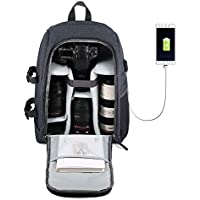 Camera Backpack Waterproof Nylon DSLR Backpack Professional Camera Bag with USB External Charging Port for Canon Nikon Sony Camera Accessories and Laptops Tablets Black
