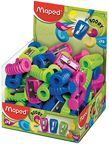 Maped Boogy 1 Hole Pencil Sharpener - Assorted Colours (Pack of 75) 063211 by Helix