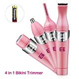 Bikini Trimmer, 4 in 1 Women Shaver Eyebrow Trimmer Nose Trimmer Battery Operated Bikini Grooming Kit Mini Portable Design Women Groomer Kit for Bikini Area/ Armpit / Arm / Leg (Pink)