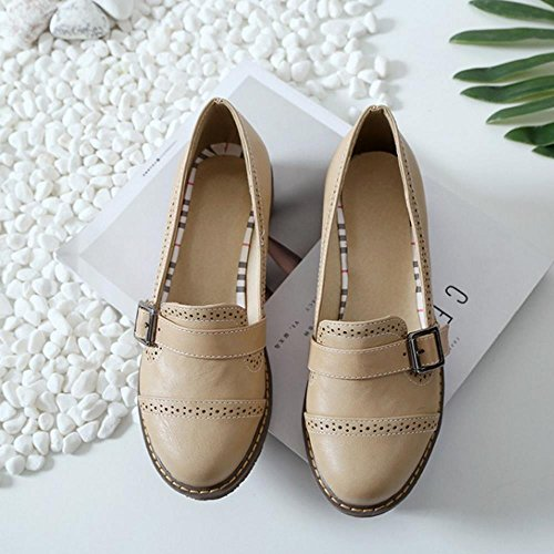 Retro Pumps All Fashion Women School Shoes Match Girl Solid Shallow KemeKiss apricot nOZUqwI8I