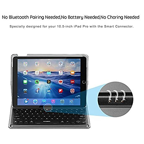 Amazon.com: Keyboard Case Smart Keyboard with Smart Connector Slim Shell Protective Case Compatible with IPad pro 10.5,Backlit and Built-in Holder (Black): ...