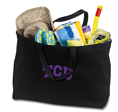 Broad Bay Jumbo TCU Tote Bag or Large Canvas Texas Christian University Shopping Bag