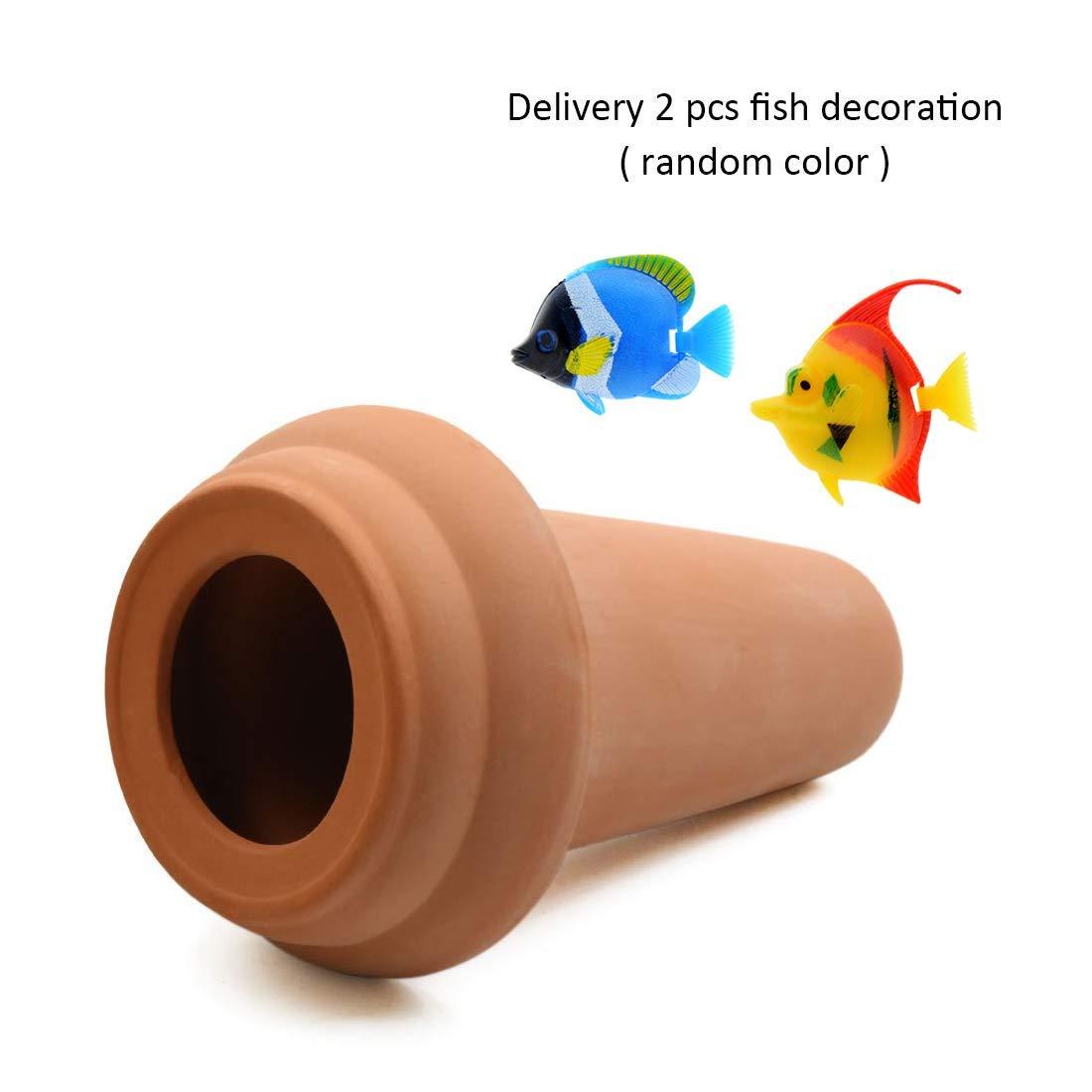 Uotyle Ceramic Spawning Cone 8 Inches Breeding Cones Cave Orange Aquarium Decorations Fish Tank Ornaments for Discus Clownfish Angelfish Aquatic Pets Play Hide Rest