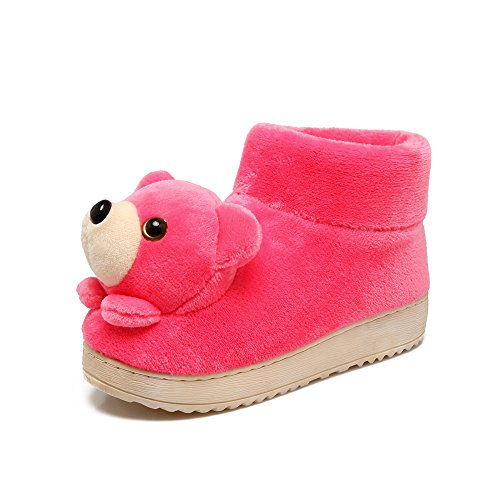 Y-Hui Otoño e Invierno niños casa matriz-subordinada zapatillas de algodón y zapatillas cálidos interiores Calzado Antideslizante,40-41 (normalmente 39-40 metros),para adultos Rosa roja
