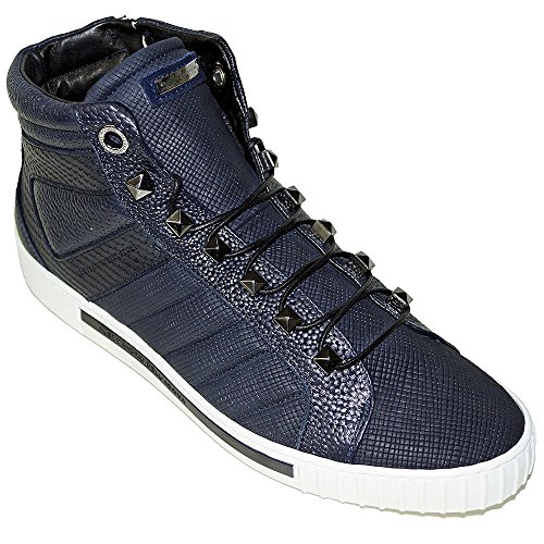 alessandro-dellacqua-4616-printed-leather-mens-lace-up-high-top-fashion-sneakers-12-navy