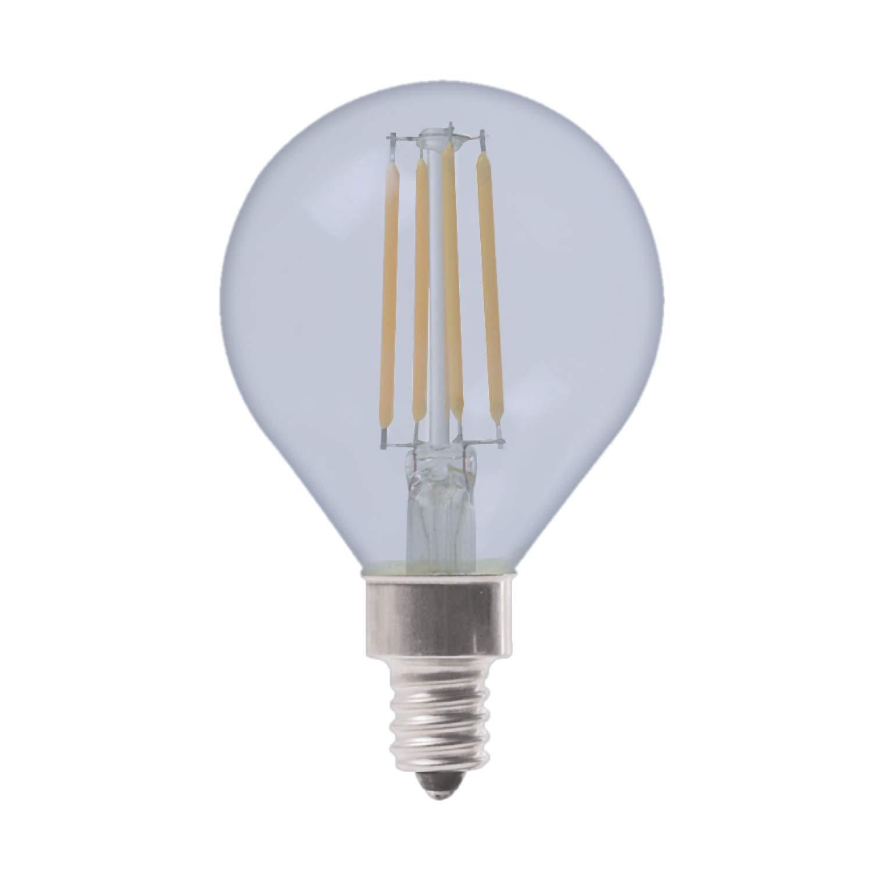 GE Lighting 31882 Clear Finish Light Bulb Reveal HD Dimmable LED Decorative G16.5 Globe 5.5 (60-Watt Replacement), 420-Lumen Candelabra Base, 2-Pack, 2