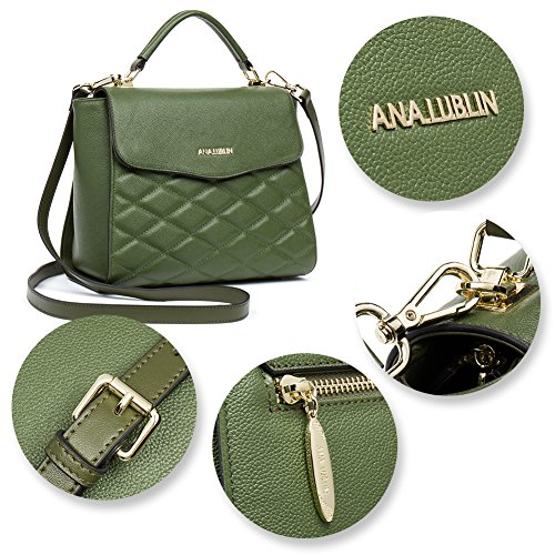 ANA 1 Leather for Dark Bag LUBLIN Shoulder Fashion Purse Women Crossbody Green Tote Handbags Satchel 6r6Cxwq