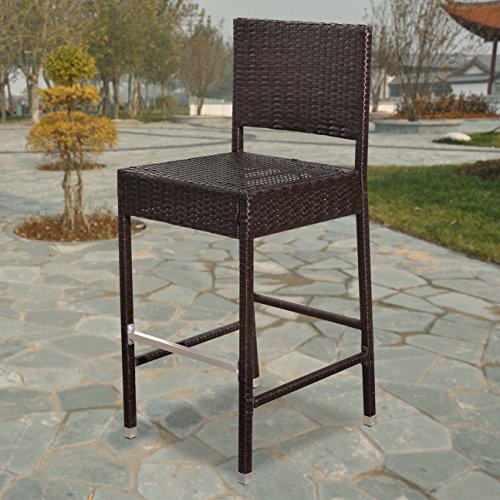Strong Camel Dark Coffee Wicker Barstool Indoor Outdoor Patio Furniture All Weather Bar (Height All Weather Wicker)