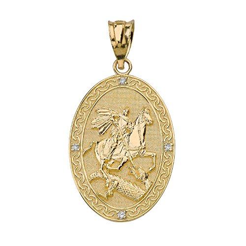 - 10k Yellow Gold Saint George Slaying the Dragon Oval Medal Diamond Pendant (Large)