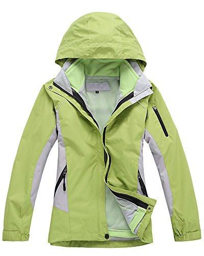 Vestes Femelle Etanche 3 en 1 Intrieur dtachable Veste de Ski Randonne Manteau Vert