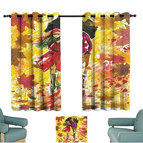 Mannwarehouse Fall Bedroom Windproof Curtain Couple Walking at Alley in Autumn Park Rainy Weather Romantic Watercolors Artwork Suitable for Bedroom Living Room Study, etc.55 Wx39 L Multicolor