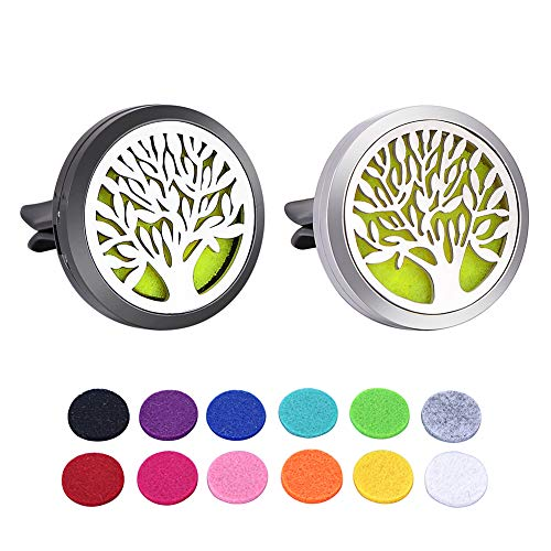HOUSWEETY 2PCS 30mm Car Aromatherapy Essential Oil Diffuser Stainless Steel Locket Air Freshener with Vent Clip 12 Felt Pads