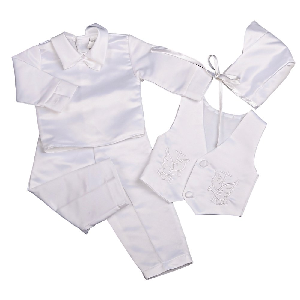 Dressy Daisy Baby Boys Baptism Christening Suit Outfit Bonnet Long Sleeves 4 Pcs