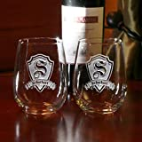 Engraved Stemless Wine Glasses, Etched Wine Lover Gift Ideas, SET OF 4 (m30)