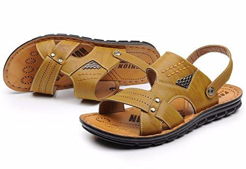 estate Uomini sandali Spiaggia scarpa Uomini traspirante Tempo libero pelle Uomini scarpa Il nuovo Antiscivolo sandali ,giallo,US=8.5,UK=8,EU=42,CN=43