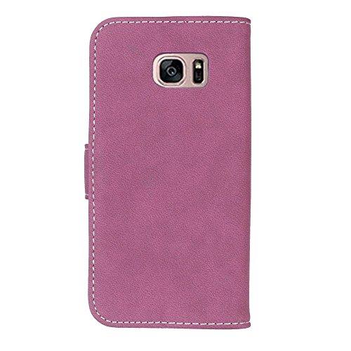 YHUISEN Estilo retro de color sólido Premium PU cuero Cartera de la caja Flip Folio cubierta protectora de la caja con ranura para tarjeta / soporte para Samsung Galaxy S7 ( Color : Blue ) rosa (b)