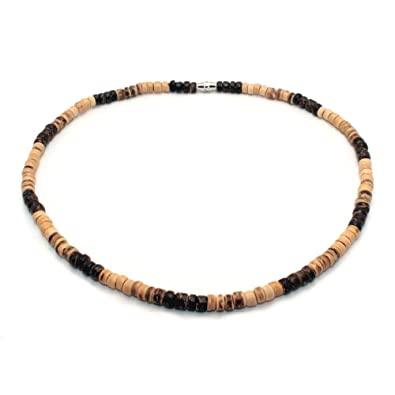 Surfer Necklace Made From Dark Brown Light Brown And Tiger Brown Coco Beads Barrel Lock