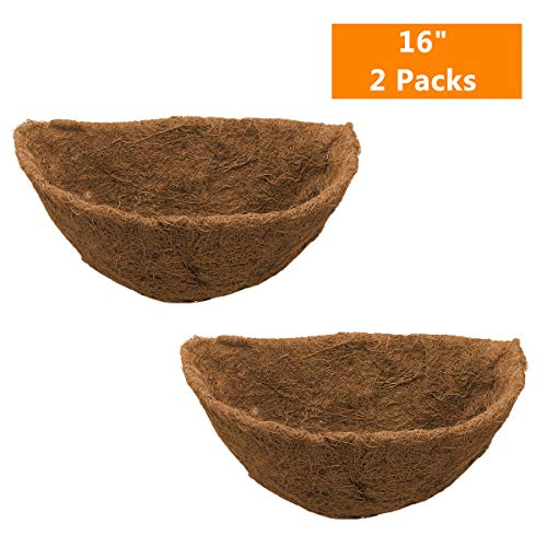 Replacement Liner Coconut - Half Round Coco Liner,Half Circle Wall Planter Coco Fiber Replacement Liners for Wall Hanging Baskets (2, 16 Inch)