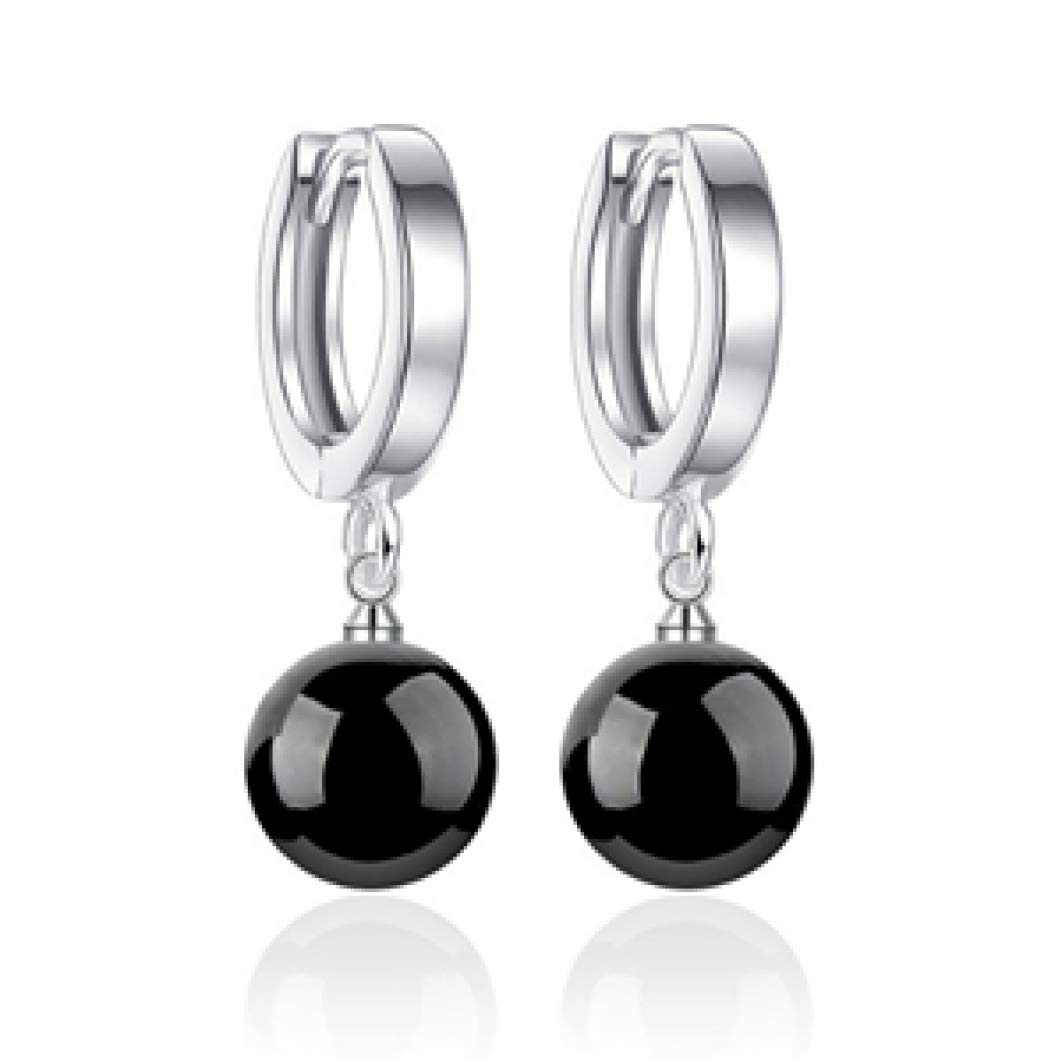 Bright Crystal Box Silver Color Drop Earrings Fashion Temperament Pizza Ball Pearl Earrings Jewelry
