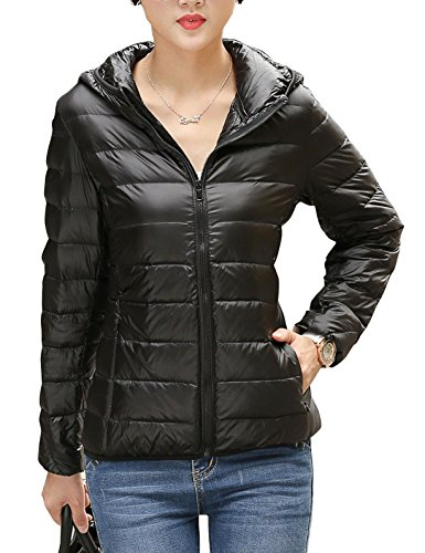 CHERRY CHICK Women's Shiny Packable Nylon Down Hooded Jacket (XL, Black-AB) for $<!--$42.99-->