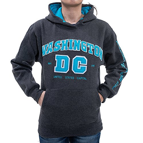 - Washington DC Women's Gray with Blue Letters Hoodie (Medium, without Zipper)