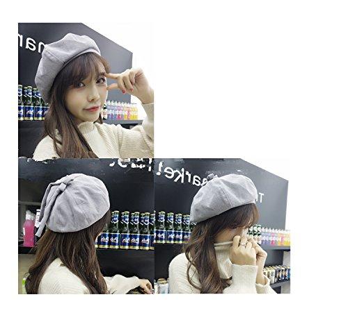 Generic Korean_style_of wild_corduroy_beret_ Bow Tie _ribbon_5563_5628)_painter_ cap hat women girls autumn winter _days_pumpkin_octagonal_ cap hat _tide