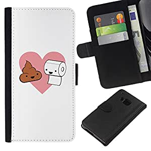 All Phone Most Case / Oferta Especial Cáscara Funda de cuero Monedero Cubierta de proteccion Caso / Wallet Case for HTC One M7 // Toilet Paper Poop Pink Heart Love Romance