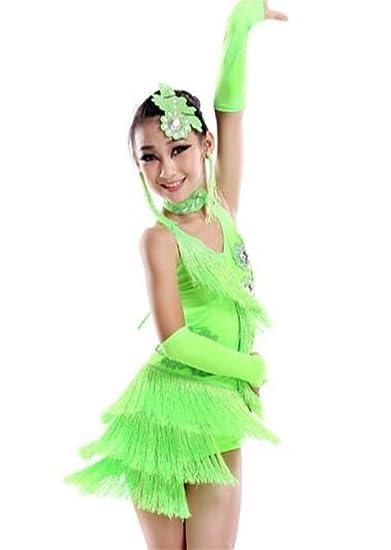 peiwen Falda de Flecos Latina para niña/Vestido de Baile Latino ...