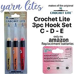 Light Up Crochet Hook Set - The Original Crochet Hook Lights, Set of 3 Hooks (C - D - E)