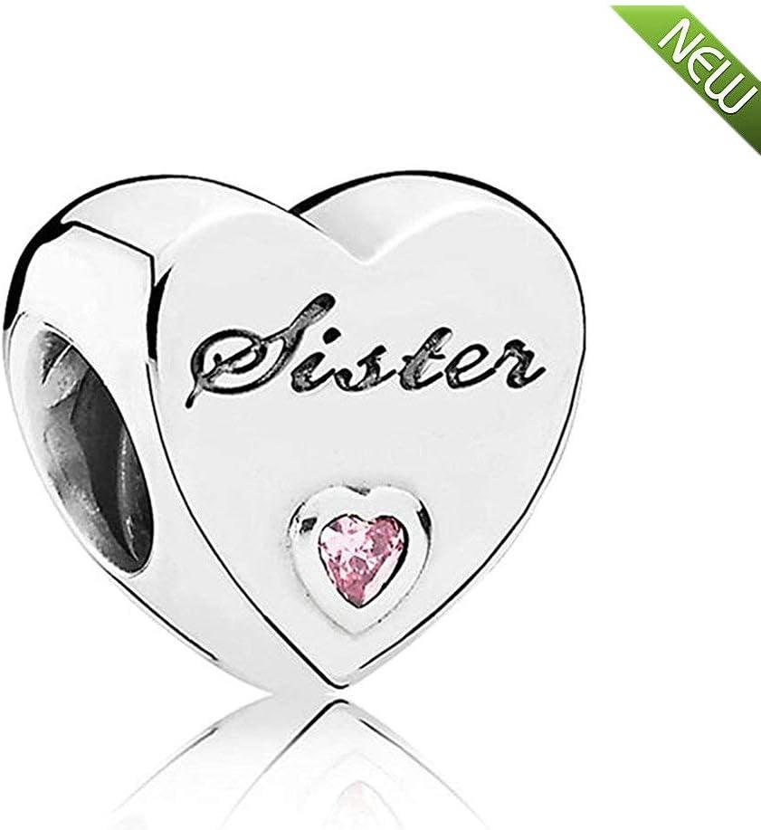 Abalorio en forma de corazón de 100% plata de ley 925 con diamante de imitación rosa y el texto en inglés