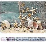 Aquarium Background 3D Effect Adhesive Seashell Starfish Poster for Aquarium Fish Tank Seashell Starfish Decoration(122 * 46cm)