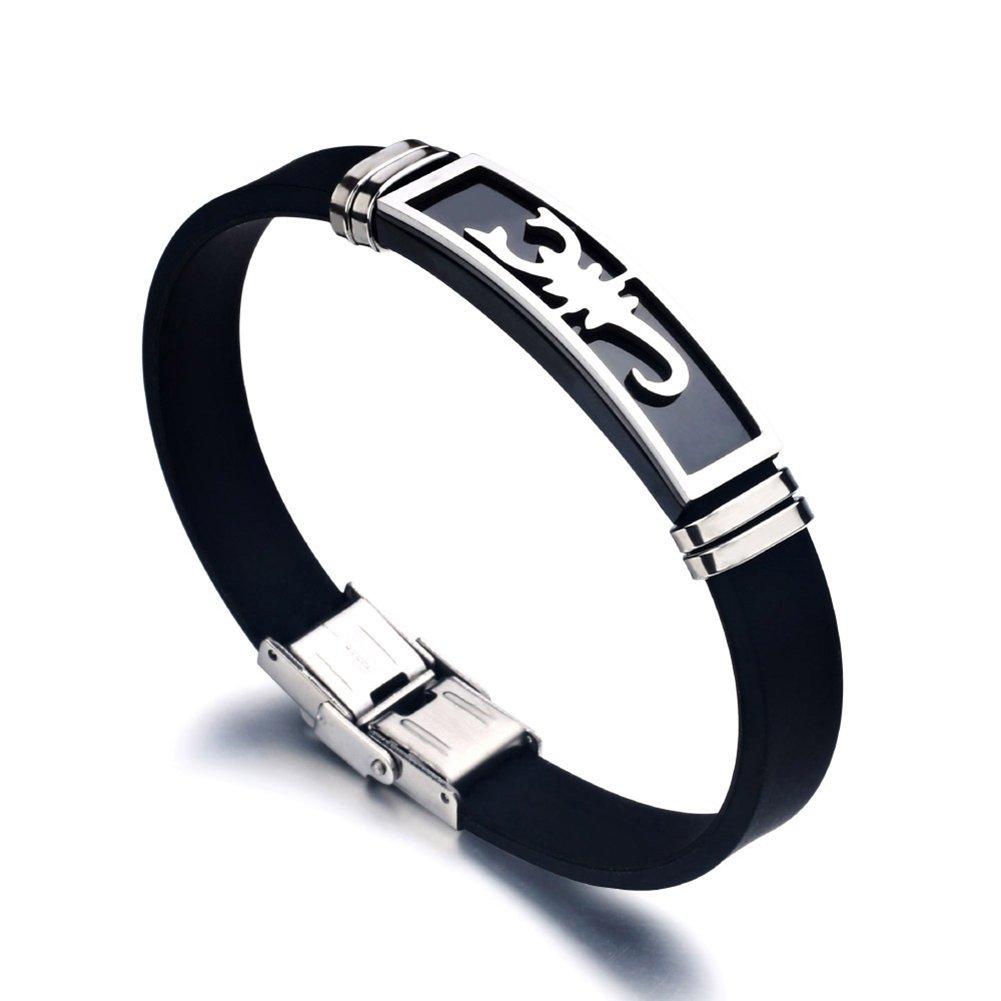 Wintefei Men Women Scorpion Clasp Bracelet Bangle Night Club Jewelry Birthday Xmas Gift - Silver