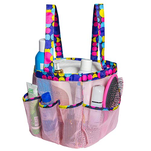 Attmu Portable Mesh Shower Caddy with 8 Storage Pockets, Quick Dry Waterproof Shower Tote Bag Oxford Hanging Toiletry and Bath Organizer for Shampoo, Pink Spot]()