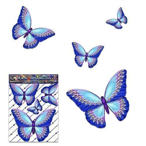 Small Blue BUTTERFLY Animal Vinyl Car Sticker Decal Pack For Laptop, Caravans, Trucks, Boats ST00025BL_SML - JAS Stickers