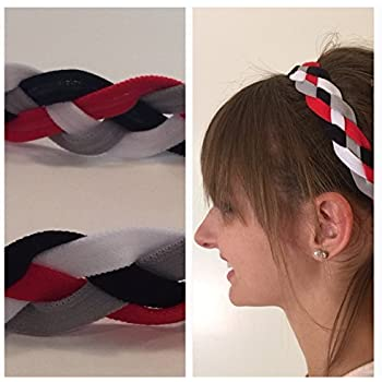 Fabulicious Red WIDE Braided Headband Softball Running Sports Braided  Headbands Sweat Silicone Non Slip Grip No Armour Scrunchy Women Girl Soccer  Yoga ... 9c525eeb5ab