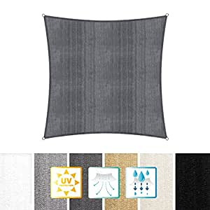 Lumaland toldo Vela de Sombra 100% Polietileno de Alta Densidad Filtro UV Incl Cuerdas Nylon 4 x 4
