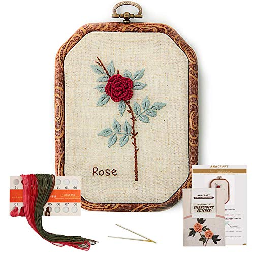 Akacraft Chinese FlowersPick Series Embroidery Starter Kit, Canvas Cloth with Color Pattern, Imitated Wood Rubber Embroidery Hoop, Color Threads, and Needles (Rose)