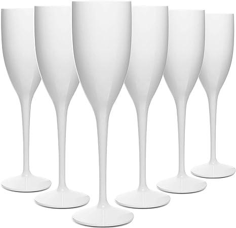 RB Flûtes à Champagne Blancs Plastique Supérieure Incassables Réutilisables 13cl, Lot de 6