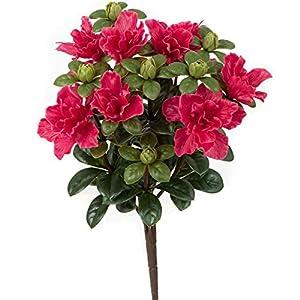"SilksAreForever 14"" UV-Proof Outdoor Artificial Azalea Flower Bush -Beauty (Pack of 6) 116"