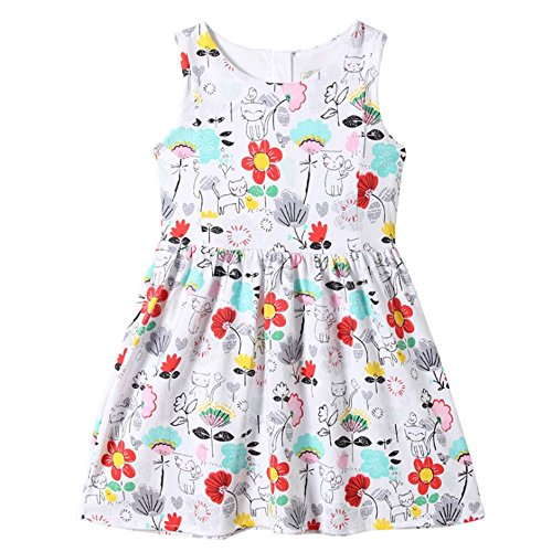 Girls Sleeveless Summer Casual Dress,2Seven Toddler Girls Cotton Cartoon Dresses Little Girls Floral Dress 1-7T