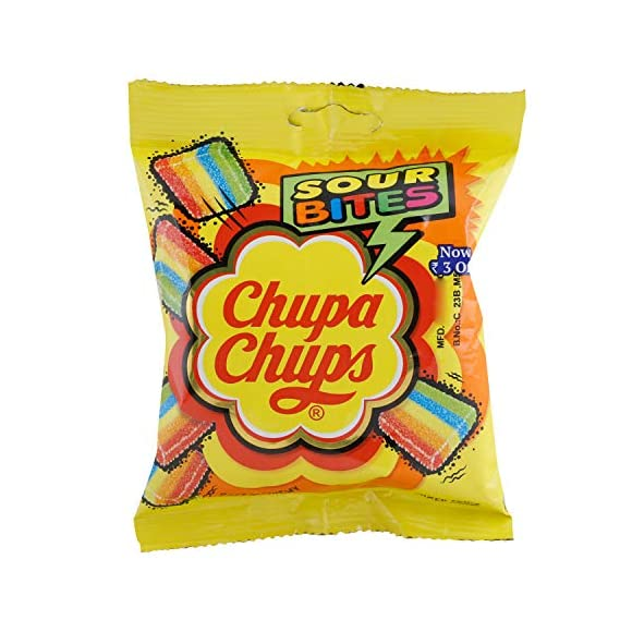 Chupa Chups Sour Bites Soft & Chewy Toffee - Mixed Fruit Flavour, 61.6g